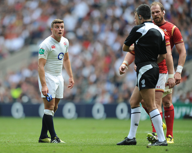 George Ford of England listens carefully to what Samson Lee of Wales has to say as Referee Marius Mitrea of Italy looks on during the Old Mutual Wealth Cup match between England and Wales at Twickenham Stadium on Sunday 29th May 2016 (Photo: Rob Munro/Stewart Communications)