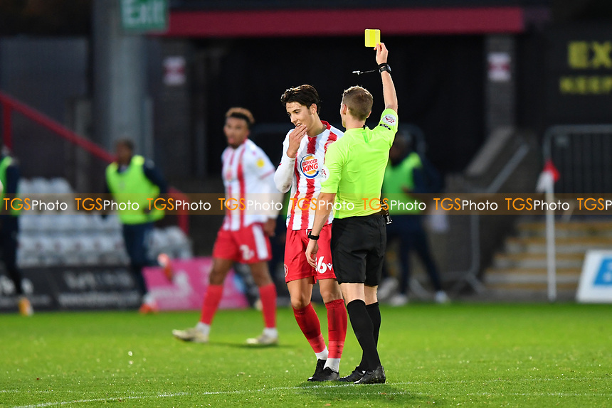 Arthur Iontton of Stevenage FC Receives a Yellow Card during Stevenage vs Bolton Wanderers, Sky Bet EFL League 2 Football at the Lamex Stadium on 21st November 2020