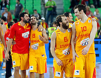 "Alex Mumbru, Jose Calderon, Sergio Rodriguez and Victor Claver of Spain celebrate after European basketball championship ""Eurobasket 2013""  basketball game for 3rd place between Spain and Croatia in Stozice Arena in Ljubljana, Slovenia, on September 22. 2013. (credit: Pedja Milosavljevic  / thepedja@gmail.com / +381641260959)"
