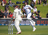 Windies bowler Chemar Holder reacts to a missed chance on Henry Nicholls during day one of the International Test Cricket match between the New Zealand Black Caps and West Indies at the Basin Reserve in Wellington, New Zealand on Friday, 11 December 2020. Photo: Dave Lintott / lintottphoto.co.nz