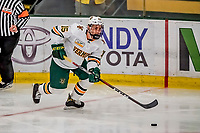 29 December 2018: University of Vermont Catamount Defenseman Corey Moriarty, a Junior from Estero, FL, in third period action against the Rensselaer Engineers at Gutterson Fieldhouse in Burlington, Vermont. The Catamounts rallied from a 2-0 deficit to defeat RPI 4-2 and win the annual Catamount Cup Tournament. Mandatory Credit: Ed Wolfstein Photo *** RAW (NEF) Image File Available ***