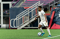 FOXBOROUGH, MA - AUGUST 5: Pecka #7 of North Carolina FC looks to pass during a game between North Carolina FC and New England Revolution II at Gillette Stadium on August 5, 2021 in Foxborough, Massachusetts.