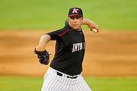 Relief pitcher Zach Piccola #30 of the Kannapolis Intimidators in action against the Lakewood BlueClaws at Fieldcrest Cannon Stadium July 14, 2010, in Kannapolis, North Carolina.  Photo by Brian Westerholt / Four Seam Images