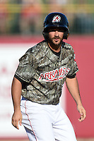 Arkansas Travelers outfielder Drew Heid (4) leads off third during a game against the San Antonio Missions on May 25, 2014 at Dickey-Stephens Park in Little Rock, Arkansas.  Arkansas defeated San Antonio 3-1.  (Mike Janes/Four Seam Images)
