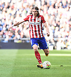 Atletico de Madrid´s Filipe Luis during 2015/16 La Liga match between Real Madrid and Atletico de Madrid at Santiago Bernabeu stadium in Madrid, Spain. February 27, 2016. (ALTERPHOTOS/Javier Comos)