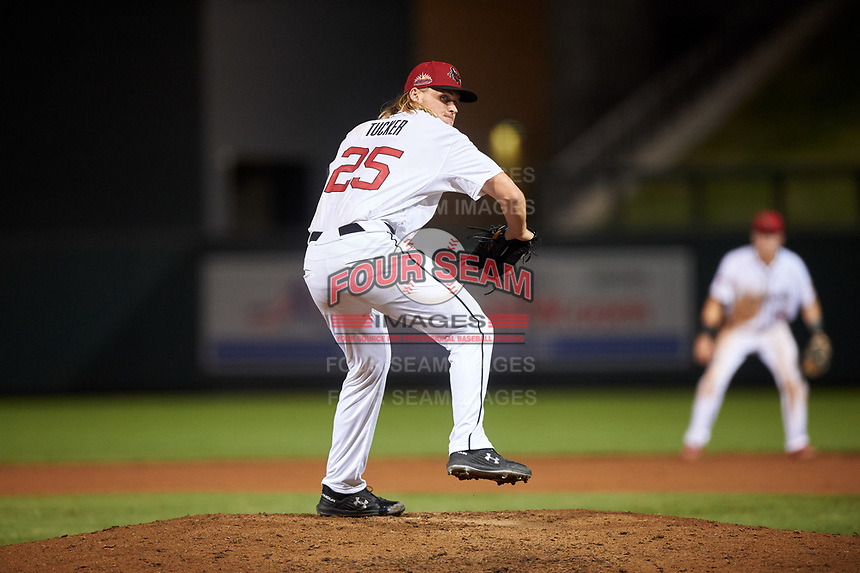 Scottsdale Scorpions relief pitcher Bryce Tucker (25), of the San Francisco Giants organization, during an Arizona Fall League game against the Glendale Desert Dogs on September 20, 2019 at Salt River Fields at Talking Stick in Scottsdale, Arizona. Scottsdale defeated Glendale 3-2. (Zachary Lucy/Four Seam Images)