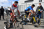Stage winner and new race leader Tadej Pogacar (SLO) UAE Team Emirates and previous race leader Wout Van Aert (BEL) Team Jumbo-Visma warm down after Stage 4 of Tirreno-Adriatico Eolo 2021, running 148km from Terni to Prati di Tivo, Italy. 13th March 2021. <br /> Photo: LaPresse/Marco Alpozzi   Cyclefile<br /> <br /> All photos usage must carry mandatory copyright credit (© Cyclefile   LaPresse/Marco Alpozzi)