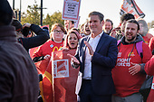 Kier Starmer.  McDonalds workers, on strike over low pay in  six South London branches, protest outside the chain's WandsworthTown branch.