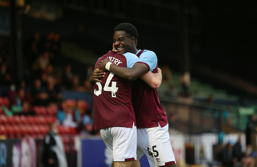 West Ham United's Conor Coventry celebrates scoring his side's third goal with Ademipo Odubeko<br /> <br /> Photographer Rob Newell/CameraSport<br /> <br /> EFL Trophy Southern Section Group A - Southend United v West Ham United U21 - Tuesday 8th September 2020 - Roots Hall - Southend-on-Sea<br />  <br /> World Copyright © 2020 CameraSport. All rights reserved. 43 Linden Ave. Countesthorpe. Leicester. England. LE8 5PG - Tel: +44 (0) 116 277 4147 - admin@camerasport.com - www.camerasport.com