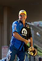 Jul. 21, 2013; Morrison, CO, USA: NHRA pro stock driver Allen Johnson celebrates after winning the Mile High Nationals at Bandimere Speedway. Mandatory Credit: Mark J. Rebilas-