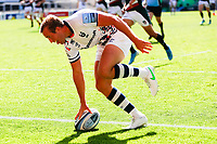 5th June 2021; Mattioli Woods Welford Road Stadium, Leicester, Midlands, England; Gallagher Premiership Rugby, Leicester Tigers versus Bristol Bears; Max Malins of Bristol Bears scores his team's third try