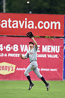 Connecticut Tigers outfielder Ben Verlander (22) catches a fly ball during the first game of a doubleheader against the Batavia Muckdogs on July 20, 2014 at Dwyer Stadium in Batavia, New York.  Connecticut defeated Batavia 5-3.  (Mike Janes/Four Seam Images)