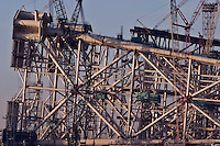 Baku, Azerbaijan, 04/12/2004..The West Azeri Jacket being built, with old abandoned SOCAR [State Oil Company of Azerbaijan Republic] jackets behind.....