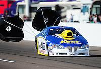 Feb. 18, 2012; Chandler, AZ, USA; NHRA pro stock driver Rodger Brogdon during qualifying for the Arizona Nationals at Firebird International Raceway. Mandatory Credit: Mark J. Rebilas-