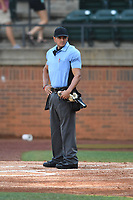 Home Plate Umpire Brandon Tipton during a USA Collegiate National baseball game between Team Stars and Team Stripes on July 6, 2021 at Pioneer Park in Greeneville, Tennessee. (Tracy Proffitt/Four Seam Images)