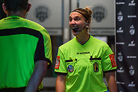 referee Jana Van Laere pictured before a female soccer game between AA Gent Ladies and SV Zulte-Waregem on the fifth matchday in the 2021 - 2022 season of Belgian Scooore Womens Super League , friday 1 October 2021  in Oostakker , Belgium . PHOTO SPORTPIX | STIJN AUDOOREN