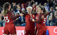 San Jose, CA - Sunday November 12, 2017: Carli Lloyd celebrates during an International friendly match between the Women's National teams of the United States (USA) and Canada (CAN) at Avaya Stadium.