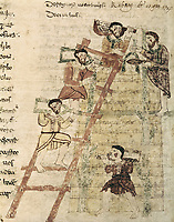 RABANUS, Maurus (c. 780 - 856). De Universo (s. IX). Liber XVI, chpater I: building a tower. Romanesque edition from the Carol