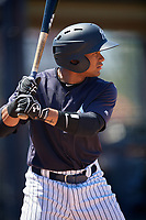 New York Yankees Robert Javier (16) during a Minor League Spring Training game against the Detroit Tigers on March 21, 2018 at the New York Yankees Minor League Complex in Tampa, Florida.  (Mike Janes/Four Seam Images)