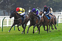 Winner of The Fovant Fillies' Handicap  Clever Candy (purple cap) ridden by Kieran Shoemark and trained by Michael Bell  during Horse Racing at Salisbury Racecourse on 13th August 2020