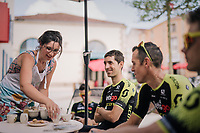 Coffee for Mikel Nieve (ESP/Mitchelton-Scott) & friends<br /> Team Mitchelton-Scott going for a coffee-ride<br /> <br /> D-1: last preperations 1 day before the start of the race<br /> <br /> Le Grand Départ 2018<br /> 105th Tour de France 2018<br /> ©kramon