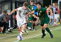 COLLEGE PARK, MD - SEPTEMBER 3: Maryland University forward Hunter George (7) moves away from George Mason University defender Noah McGrath (5) during a game between George Mason University and University of Maryland at Ludwig Field on September 3, 2021 in College Park, Maryland.