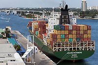 Ft. Lauderdale, Florida.  Container Ship at Port Everglades.
