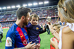 Leo Messi, Antonella Roccuzzo  and his son Thiago Messi during the match of  Copa del Rey (King's Cup) Final between Deportivo Alaves and FC Barcelona at Vicente Calderon Stadium in Madrid, May 27, 2017. Spain.. (ALTERPHOTOS/Rodrigo Jimenez)