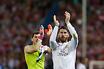 Real Madrid´s Sergio Ramos and Iker Casillas greet their supporters during quarterfinal first leg Champions League soccer match at Vicente Calderon stadium in Madrid, Spain. April 14, 2015. (ALTERPHOTOS/Victor Blanco)