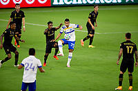 LOS ANGELES, CA - SEPTEMBER 02: Latif Blessing #7 of LAFC battles with Andres Rios #25 of the San Jose Earthquakes during a game between San Jose Earthquakes and Los Angeles FC at Banc of California stadium on September 02, 2020 in Los Angeles, California.
