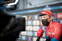 Dylan Teuns (BEL/Bahrain - Victorious) interviewed at the no-fans-allowed (due to Covid-19) team presentation of the 76th Omloop Het Nieuwsblad 2021<br /> ME(1.UWT)<br /> 1 day race from Ghent to Ninove (BEL): 200km<br /> <br /> ©kramon