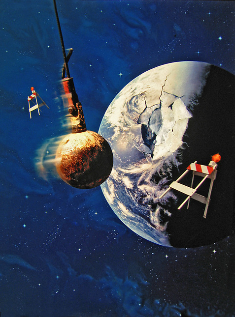 Wrecking ball smashing earth