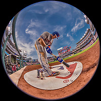 28 April 2017: New York Mets infielder Asdrubal Cabrera prepares his bat in the on-deck circle during a game against the Washington Nationals at Nationals Park in Washington, DC. The Mets defeated the Nationals 7-5 to take the first game of their 3-game weekend series. Mandatory Credit: Ed Wolfstein Photo *** RAW (NEF) Image File Available ***