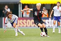 14 MAY 2011: USA Women's National Team midfielder Megan Rapinoe (15) dribbles the ball during the International Friendly soccer match between Japan WNT vs USA WNT at Crew Stadium in Columbus, Ohio.
