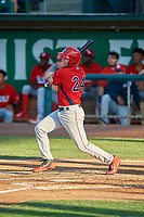 David Clawson (24) of the Orem Owlz at bat against the Ogden Raptors at Lindquist Field on July 27, 2019 in Ogden, Utah. The Raptors defeated the Owlz 14-1. (Stephen Smith/Four Seam Images)