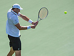 John Isner (USA) falls to Juan Martin del Potro (ARG) 3-6, 6-1, 6-2 losing a second final at the Citi Open in Washington, DC on August 4, 2013.