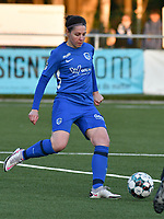 Lorene Martin (6) of KRC Genk in action during a female soccer game between  Racing Genk Ladies and Eendracht Aalst on the 5 th matchday of play off 2 in the 2020 - 2021 season of Belgian Scooore Womens Super League , friday 7 th of May 2021  in Genk , Belgium . PHOTO SPORTPIX.BE | SPP | JILL DELSAUX