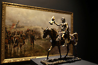 Part of the Ben Weider's collection on Napoleon at Montreal Museum of Fine Arts.<br /> <br /> Small sculpture of Napoleon facing the painting  Last Grand Attack (Le Dernier Assault) : Waterloo 1895 by Ernest Croft<br /> <br /> <br /> Photo : Pierre Roussel - Agence Quebec Presse<br /> <br /> <br /> <br /> <br /> <br /> <br /> <br /> <br /> <br /> <br /> <br /> .