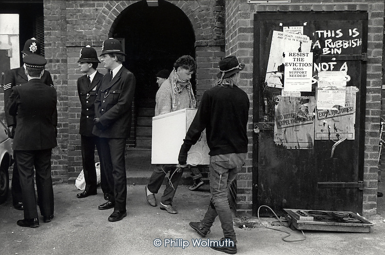 Mass eviction of squatters from Stamford Hill Estate, Hackney, 1988.
