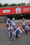 Reading 2 Swansea City 4, 30/05/2011. Wembley Stadium, Championship play-off final. A group of Reading fans walking towards the stadium on the day of the Npower Championship play-off final between Reading (blue) and Swansea City at Wembley Stadium. The match was won by Swansea by 4 goals to 2 watched by a crowd of 86,581. Swansea became the first Welsh team to reach the top division of English football since they themselves played there in 1983. Photo by Colin McPherson.