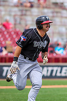 Lansing Lugnuts outfielder Brock Lundquist (33) races to first base during a Midwest League game against the Wisconsin Timber Rattlers on May 8, 2018 at Fox Cities Stadium in Appleton, Wisconsin. Lansing defeated Wisconsin 11-4. (Brad Krause/Four Seam Images)