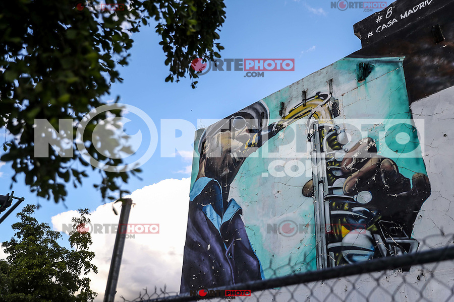 Saxophonist mural in the street of downtown Hermosillo. Calle Pino Suarez street in the historic center of Hermosillo, Mexico.<br /> (Photo by Luis Gutierrez / NortePhoto)<br /> Saxofonista mural en la calle de centro de Hermosillo. calle  calle Pino Suarez en el centro historico de Hermosillo,  Mexico.<br /> (Photo by Luis Gutierrez / NortePhoto)