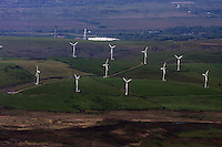 Aerial view of Wind Turbines in south Wales