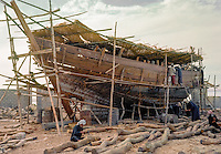 Kuwait April 1967.  Kuwaiti Dhow (Boom) under Construction. AN ADDITIONAL 100 HISTORIC IMAGES OF KUWAIT MADE BETWEEN 1966-1972 ARE AVAILABLE.  LET US KNOW WHAT YOU NEED.