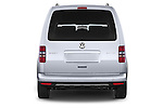 Straight rear view of a 2013 Volkswagen Caddy Cross 5 Door Mini MPV 2WD Rear View  stock images