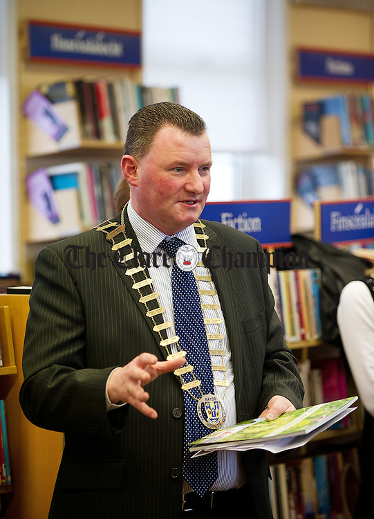 Mayor of Clare Councillor Pat Hayes speaking at the launch of the  Buds of the Banner publication, organised by Clare County Council to mark National Tree Week at the West Clare Resource Centre, Miltown Malbay, Photograph by John Kelly.