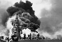 USS BUNKER HILL hit by two Kamikazes in 30 seconds on 11 May 1945 off Kyushu.  Dead - 372.  Wounded - 264.