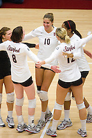 STANFORD, CA - DECEMBER 5:  Alix Klineman of the Stanford Cardinal celebrates with Gabi Ailes, Cassidy Lichtman, Erin Waller and Janet Okogbaa during Stanford's 3-0 win over Albany in the NCAA Division 1 Women's Volleyball first round on December 5, 2008 at Maples Pavilion in Stanford, California.