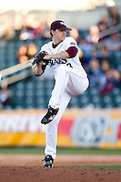 Zach Merciez (33) of the Missouri State Bears winds up during a game against the Southern Illinois University- Edwardsville Cougars at Hammons Field on March 9, 2012 in Springfield, Missouri. (David Welker / Four Seam Images)