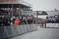 3 race leaders on the race track: Mathieu Van der Poel (NLD/BKCP-Corendon), Wout Van Aert (BEL/Crelan-Vastgoedservice) & Lars Van der Haar (NLD/Giant-Alpecin)<br /> <br /> Men's Elite Race<br /> <br /> UCI 2016 cyclocross World Championships,<br /> Zolder, Belgium